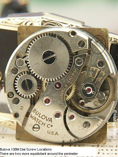 Vintage Bulova 10BM Movement Dial Screws